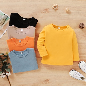 Toddler Causal Solid Long-sleeve Tee