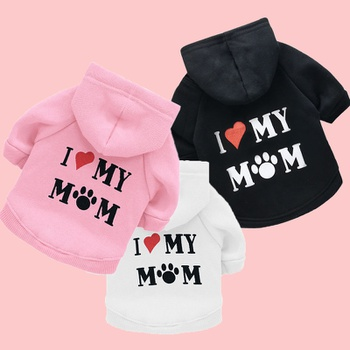 Dog fleece sweater printed MOM letters