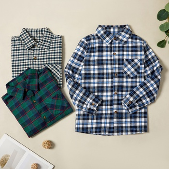 Trendy Plaid Pocket Lapel Collar Shirts