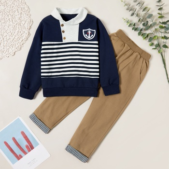 Trendy Sailor Striped Button Hooded Sweatshirt and Elasticized Plaid Pants Set