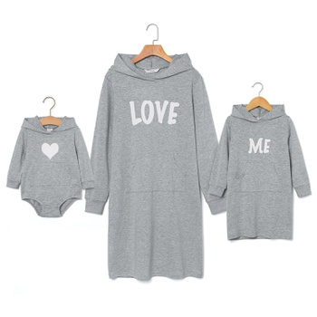 LOVE ME Letter Print Solid Hoodie Sweater Dresses for Mommy and Me
