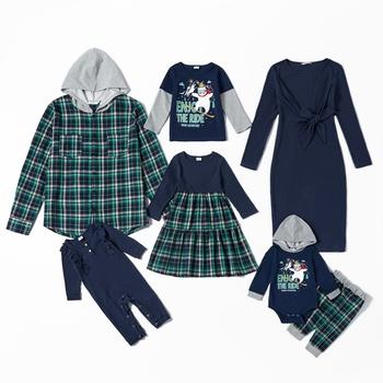 Mosaic Cotton Family Matching Sets(Long Sleeve Splice Dress - Plaid Hoodies Sweatshirts)