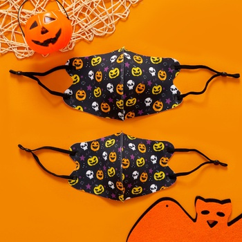 Halloween Pumpkin Skull Print Protective Anti Dust Breathable Family Mask (Washable and Reusable)
