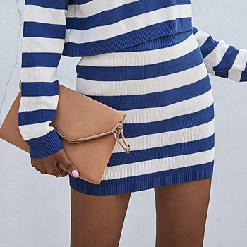 casual Stripes Navy high-waist Wrap
