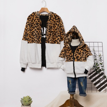 Leopard Splice Zipper Hoodies Plush Sweaters for Mom and Me