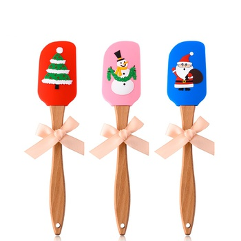 Christmas food grade Non Stick butter cooking silicone spatula cake baking spatula silicone spatula