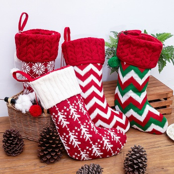 Christmas Ornament Knitted Socks Gift Candy Bag Christmas Tree Hanging Decorations