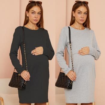 Maternity Round collar Plain Light Grey Normal Slip Long-sleeve Nursing Dress