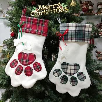 Christmas socks gift bag dog paw pendant adornment candy bag