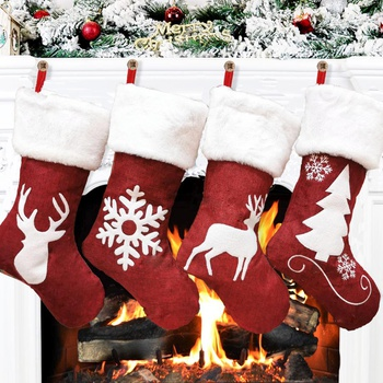 Large Christmas socks gift bag elk embroidery Gifts Holder Christmas Tree Decoration New Year Candy Bags