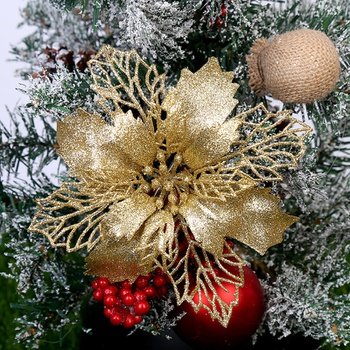 Plastic Simulation Christmas Glitter Hollow Flower Wedding Artificial Flowers Valentine's Day Decoration