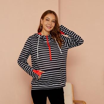 Maternity Hooded  Stripes full print Black/White Hoodie