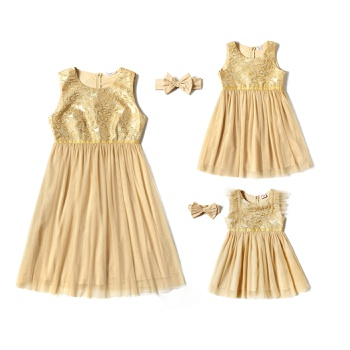 Mosaic Bowknot Mesh Party Dresses and Half High Neck Bottoming Shirts for Mom and Me