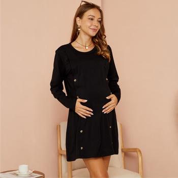 Maternity Round collar Plain Black Long-sleeve Nursing Tee