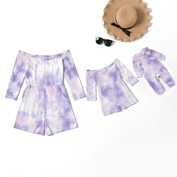 Tie Dye Off-shoulder Long-sleeve Rompers for Mommy-girl-baby