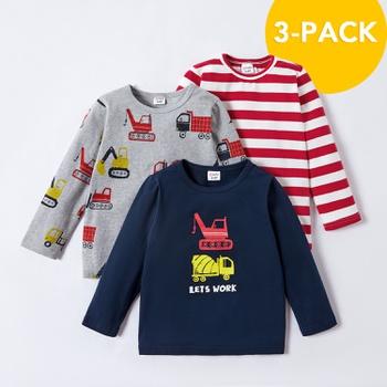 3-pack Toddler Boy Car Striped Long-sleeve Tee Set