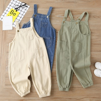 Baby / Toddler Solid Denim Overalls with Pockets