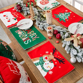 Christmas Decor Tableware Durable Dinner Table Placemat Tea Party Kitchen Accessories Bowl Cup Pads Drink Coasters