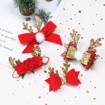 Christmas sequins elk horns flower hairpin