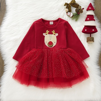 Baby Girl Animal & Elk Sweet Dress Christmas Cotton Long-sleeve Children's Princess Dresses