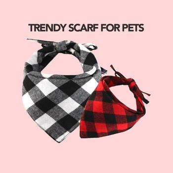 Bibs Pet Plaid Scarf Triangle Accessories Neckerchief