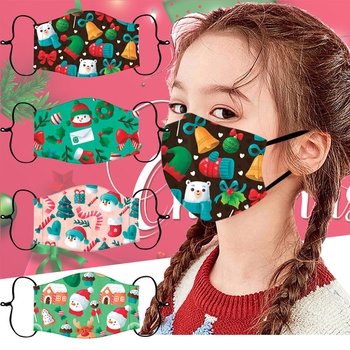 Christmas Cotton Child Printing Reuseable Face Mask Washable Anti Dust Mask Cloth(Not Include Filters)