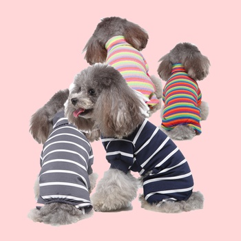 Pet Clothes Home Clothes Striped Dog Clothing Pajamas Turtleneck