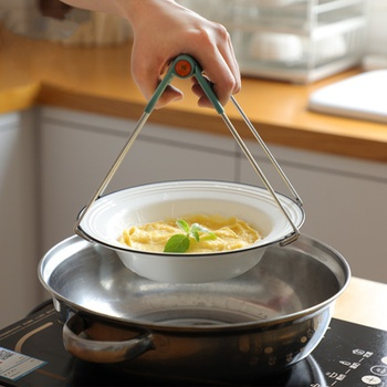 Stainless Steel Foldable Hot Bowl Clip Pot Dish Holder Steamer Plate Tong Anti-Hot Clamp Gripper Kitchen Tools Heat Insulation