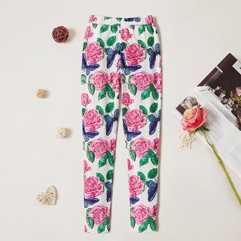 Stylish Rose Flora Allover Print Elasticized Leggings
