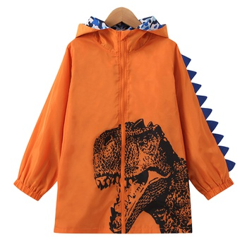 Trendy Dinosaur Print Zipper 3D Corn Hooded Overcoat