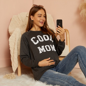 Maternity Round collar Letter  Litooffset COOL MOM print Hoodie