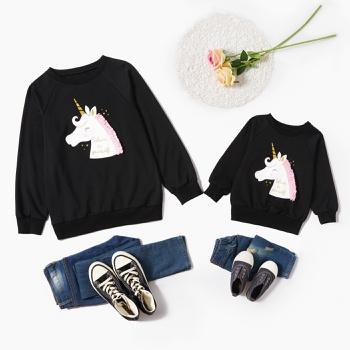 Unicorn Pattern Black Sweatshirts for Mom and Me
