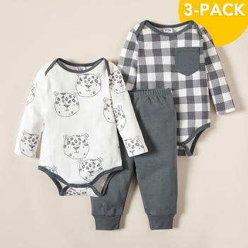 3pcs Baby Unisex casual Baby's Sets Cotton Fashion Long Sleeve Infant Clothing Outfits