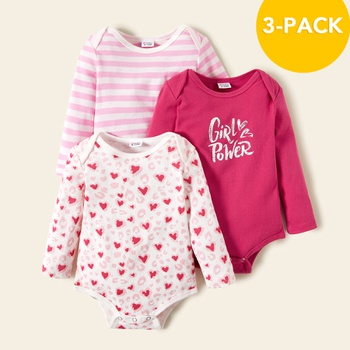 3-pack Baby Girl Sweet Heart Rompers Set