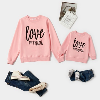 Love Letter Print Pink Cotton Sweatshirts for Mom and Me
