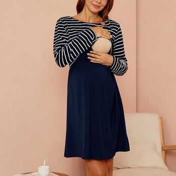 Maternity Round collar Stripes Plain Dark Blue Short A Long-sleeve Nursing Dress