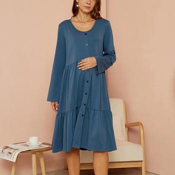 Maternity Round collar Plain Navy Short A Long-sleeve Dress