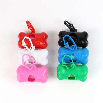 Cute Pet Dog Poop Holder Rubbish Bags Case Bone Shape Garbage Dispenser Box Clean-up Bag Carrier Case with Waste Bags
