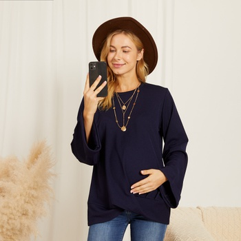 Maternity Round collar Plain Dark Blue T-shirt