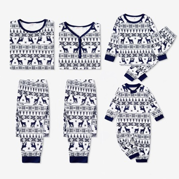 Family Matching Christmas Tree and Reindeer Print Pajamas Sets (Flame Resistant)