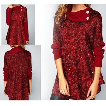 Pile collar Color Block Burgundy Drop Shoulder A Midi Dress