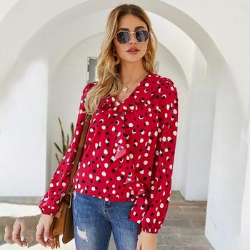 V-neck Polka dot Red full print long sleeve elegant Pullover shirt