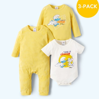 Smurfs 3-pack Baby Boy 100% Cotton Take It Cheesy Romper/Jumpsuits