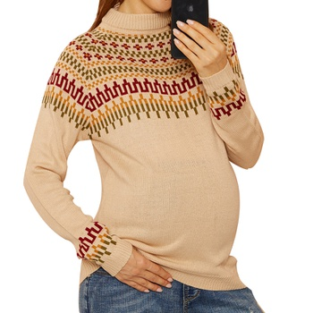 Maternity Half a turtleneck Geometric Positioning print Sweater