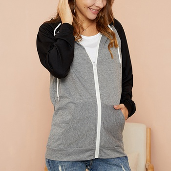 Maternity Hooded Color block Dark Grey Hoodie