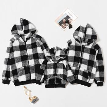 Family Matching Plaid Zipper Hoodies Plush Coats
