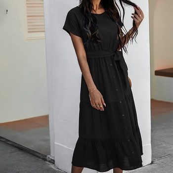 Round collar Elastic waistband X Midi Dress