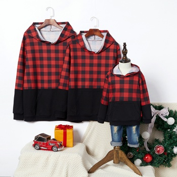 Red and Black Plaid Family Matching Hoodies Sweatshirts