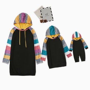 Colorful Striped Sleeves Stitching Solid Sweater Dresses for Mommy and Me