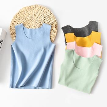 Kids Girl Comfortable Solid Sleeveless Vest